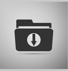 download arrow with folder icon on grey background vector image
