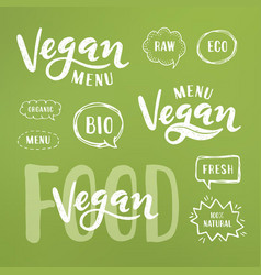 vegan menu lettering vector image vector image