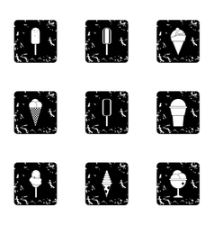 Frozen sweets icons set grunge style vector
