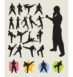 Karateka Martial Art Action Silhouettes vector image vector image