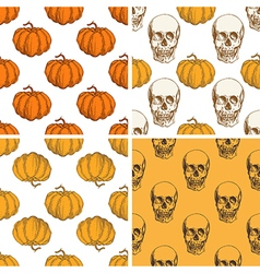 Patterns with pumpkin and skull vector image