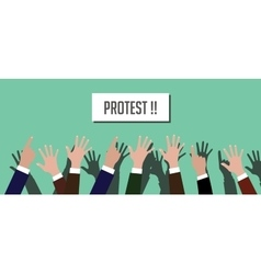 protest people crowd with hands vector image