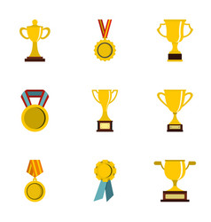 trophy and awards icons set flat style vector image