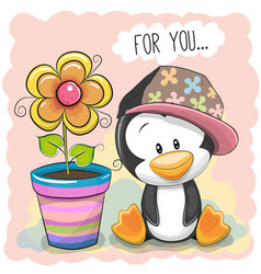 cute cartoon penguin with flower vector image vector image