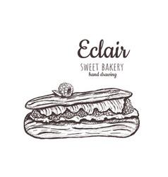 Eclair sketch eclair with raspberries vector