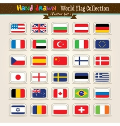Hand Draw World Flags Icon Set vector image