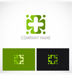plus circle green medic logo vector image