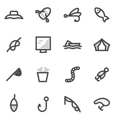 set of icons of fishing camping hunting vector image