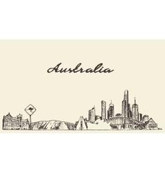 Australia skyline drawn sketch vector image vector image