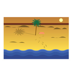 beach and sea on the sunset flat style vector image