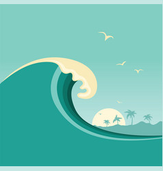big ocean wave and tropical island poster vector image vector image