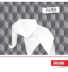 paper origami elephant icon on 3d cube vector image vector image
