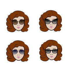 set of different types of sunglasses presenting by vector image