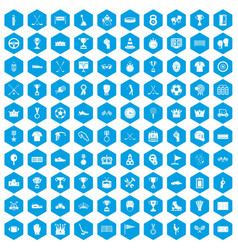 100 awards icons set blue vector image