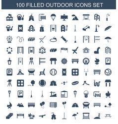 100 outdoor icons vector
