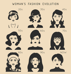 100 years beauty female fashion evolution vector