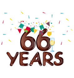 66 years anniversary celebration greeting card vector image