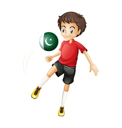 A boy using the ball with the Pakistan flag vector image vector image