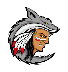 american indian in the wolf skin vector image