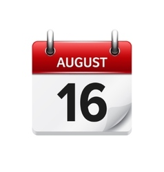 August 16 flat daily calendar icon Date vector