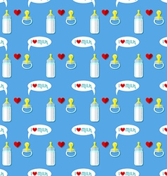baby bottle and pacifier seamless pattern vector image