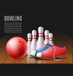 banner for bowling club with skittles and ball vector image