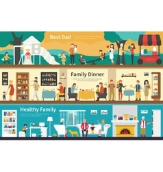 Best Dad Family Dinner Healthy flat interior vector image