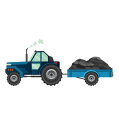 blue farm tractor which carries a trailer heavy vector image