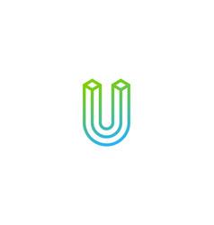box letter u logo icon design vector image