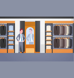 businessman trying on new business suit elegant vector image