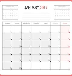 Calendar Planner for January 2017 vector image