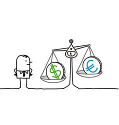 cartoon man and currencies in balance vector image