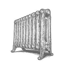 Cast iron household radiator vector
