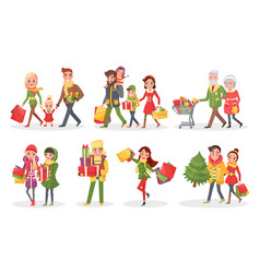 Characters of families at christmas shopping set vector