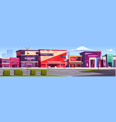City street with shops and commercial buildings vector