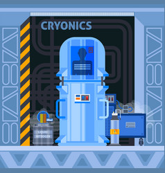 Cryogenic facilities flat background vector