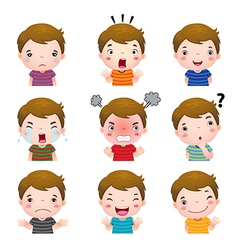 Cute boy faces showing different emotions vector image