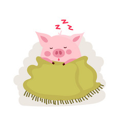 Cute cartoon pig covered by blanket isolated vector