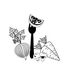 Delicious healthy fresh vegetable with fork vector