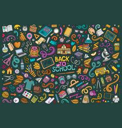doodle cartoon set of school objects vector image