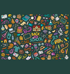 Doodle cartoon set school objects and vector