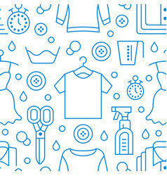 dry cleaning laundry blue seamless pattern with vector image