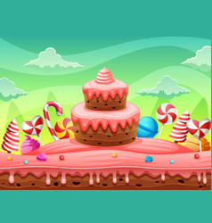 Fantasy world sweet land cake and candy vector