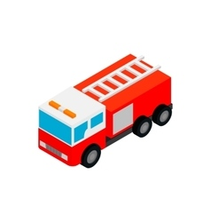 Fire truck isometric 3d icon vector