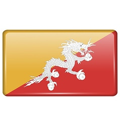 Flags Bhutan in the form of a magnet on vector