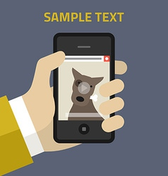 flat design hand person with mobile vector image