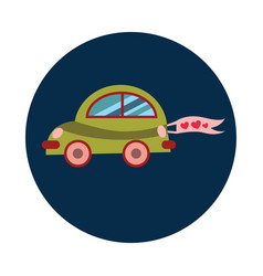 flat just married car on white background vector image