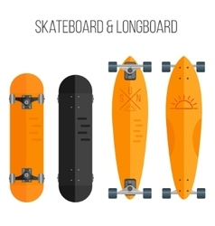 flat skateboard and vector image
