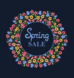 flower wreath spring sale womens day march 8 vector image