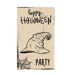 Flyer template halloween party witch hat on vector